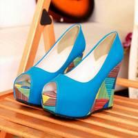 2014Ladycares W1201 Women Colorful PU Peep Toe Wedge Sandal Black Blue Apricot Orqange Beige Optioonal Free Shipping 34-39size