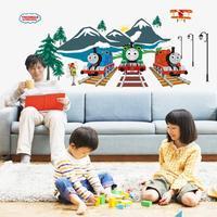Free shipping fashion cartoon children luminous stickers nursery decor stickers Thomas train ABQ9614 60 * 90