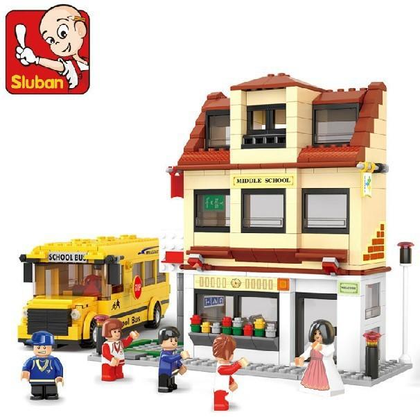 Sluban Blocks City campus bus 496pcs/set M38-B0333 Children's enlightenment educational assembly building blocks toys(China (Mainland))