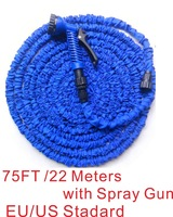 Working Lenght  22 meters Plastic Connector 75FT Blue Garden Water Hose+Spray Gun  for US / EU Standard water nozzle gun