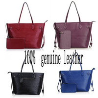 Fashion Cowhide  Women Genuine Leather Bags 2014 New Big Shopping Bag Ol  Shoulder Handbag Women's Water Ripple Messenger Bag