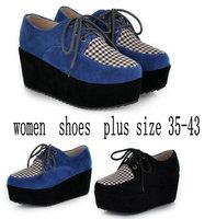 2014  Autumn Fashion Black Suede British Goth Punk Creepers Flats Hot Sale Lace up Boat Shoes Women Flat Platform Shoes