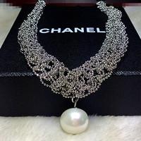 New 2014 fashion accessories silver beads cutout flower oval shape pearl necklaces & pendants collar bijouterie cc retro