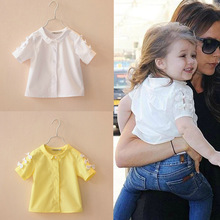 New 2014 Spring Summer Baby Girl Blouses Kids Shirts Fantasy Children Shirt Casual Floral Cotton Clothing Child Clothes Wear(China (Mainland))