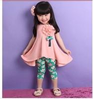 NEW Baby girls big flower suits vest dress +pants printed legging  kids summer clothing  sets 2pcs/set china post