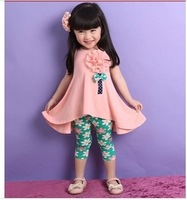 NEW Baby girls big flower suits vest dress +pants printed legging  kids summer clothing  sets 2pcs/set china post
