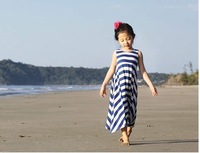 2014 new  Summer Korean children girls long stripe sleeveless halter dress beach children dress