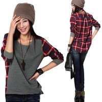 Free shipping Promotion Sale New fashion Long Sleeve plaid Bottoming Shirt women Female Hoodies S M L XL XXL size Loose blouse