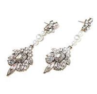 2014 New Fashion Luxury Imitation Pearl Crystal Waterdrop Shaped Earring Tassel Statement Earring
