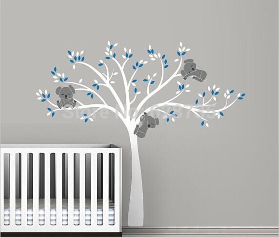 free shipping oversized 220x196cm Large Koala Tree Wall Decals for baby nursery - baby nursery vinyl wall decor stickers ,T3026(China (Mainland))
