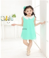 Wholesale new 2014 Summer Girls Pleated Chiffon 6plece/1lot Dress With Paillette Collar Children Colthes For Kids Baby 6colors