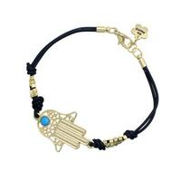Lucky bracelets gold beads hamsa gold evil eye bracelet lot with Be Happy Logo