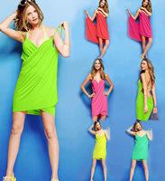 Hot Sale New 2014 Summer Women Swimwear BacklessBathing Suit  Pareo Beach Dress Beach Cover Up For Women