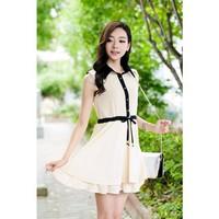 Korean Women Dress Sweet Chiffon Turn-Down Collar Pleats Sleeveless Prom Career Dress