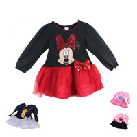 Retail 1 piece 2015 Famous Brand New Summer girl dresses Baby Clothing Long-sleeve casual Children Minnie Mouse Tutu QZ010