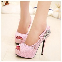 Puls Size 35-41 Fashion Women High Heels Lace Rhinestone Pump Pink and Beige Shoes For Bride and bridesmaid