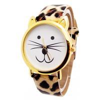 New Arrival Popular Cute Cat Design Pu Leather Cartoon Watch Children Women Ladies Dress Quartz Wristwatches GO120