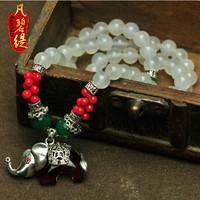 Vintage lucky circleof rich white chalcedony multi-circle bracelet natural crystal bracelet Women necklace