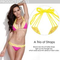 hot sale triangl swimwear bikini ben-ch women set junior swimsuit  girl dress polka dot with yellow laces big size