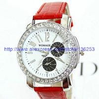 Fashionable Ladies WoMaGe Watch High Quality Women's PU Leather Watch Luxury Rhinestone Women Dress Watch 6 Colors 100pcs/lot