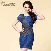 Dora 2014 fashion brief lace belt patchwork skirt step slim hip short-sleeve dress