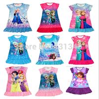Free shipping NEW 2014 Frozen Girls nightgown frozen nightgown Cartoon kids Pajama sets Hot sale Girls dress frozen sleepwear