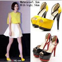 New Arrival 2014 Fashion Platform Pumps High Heels Girls Roman Sandals Belt Buckle Color Black Yellow Ladies Shoes For Woman