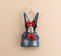 Retail 2014 new children's south Korean style sequins Mickey Mouse cowboy braces dress fashion baby girl denim dress cartoon