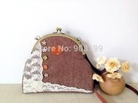 Original design vintage style  wool embroidery lace brown woolen cross-body women's handbag shoulder bag handmade