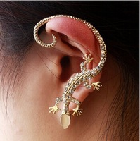 2014 Fashion Rhinestone Ear cuff Earrings,luxury Elegant Gecko Stud Earrings,Free Drop shipping   E-042
