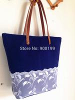 High quality navy blue cashmere woolen fashion shoulder bag handmade