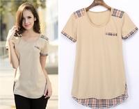 2014 summer short-sleeve T-shirt Womens medium-long top shirt british style plus size clothing loose basic shirts