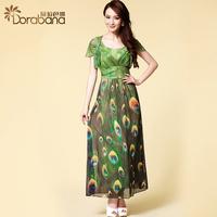 Dora 2014 summer women's brief fashion elegant expansion skirt o-neck ruffled pleated sleeve one-piece dress