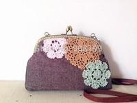 Fluid exquisite handmade crochet vintage female small cross-body bag