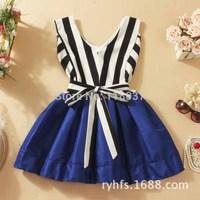 [Spring 2014] Mini belt women dress \ bow decoration \ sleeveless striped tutu \ V-neck - Free Shipping