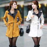 2014 Luxury British Style Women Winter Long Wool coat Thick Ladies Casual Dress Outerwear Coat/Fashion Abrigo Femininos