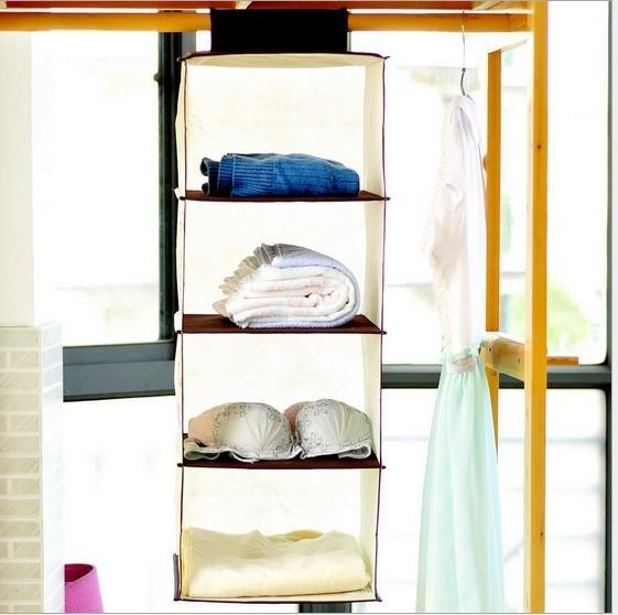 Four Korean Minimalist Wardrobe Closet Storage Hanging Bag Hanging Multilayer Pouch 520g Small