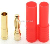 50Sets X 4.0mm gold banana bullet bonnector housing combo of motor ESC battery RC DIY,  Wholesales