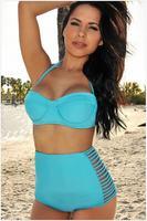 2015 New Arrival High Waist Bikini Set Neon Bustier Swimsuit Bandage Swimwear Push Up Sexy Biquinis Women Bathing Suit 1421