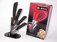 BERYL Laser Damascus knife pattern 5pcs set , 3456 kitchen knives+ stand+color box,Ceramic Knife sets  ABS handle,BLACK blade