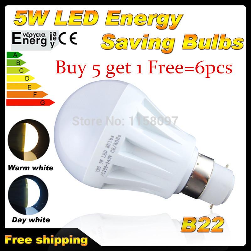 Buy 5 Get 1 Free 6x B22/E27 Bayonet 5W LED SMD 2835 Globe Light Bulbs Ball Lamp Spotlight warm white free shipping(China (Mainland))