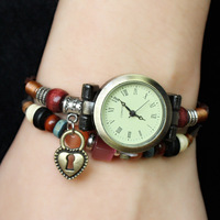 Summer New Women Genuine Leather Vintage Watches, Glass Beads Bracelet Watches Plating Ancient Bronze Keyhole Pendant