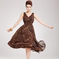 2014 New European Style Summer Long Dress Women Chiffon Leopard Print V-neck Sleeveless Maxi Dress Sexy Beach Dress