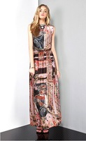 New 2014 Summer Bohemian Designer Floral Ankle Length Chiffon Long Dress Celebrity Dresses Women Summer Dress S M L XL 6285