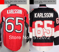 Ottawa #65 Erik Karlsson Men's Authentic Home Red/Third Black Hockey Jersey