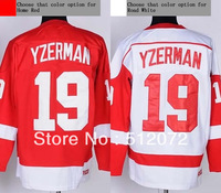 Detroit #19 Steve Yzerman Men's Authentic Throwback Home Red/Road White Hockey Jersey