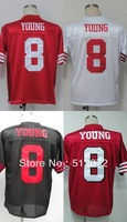 San Francisco #8 Steve Young Men's Authentic Throwback 1989 Team Red/White/Alternate Black 1994 Team Red Football Jersey