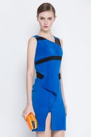 New 2014 Summer European Jag Designer Celebrity Tank Dress Women Summer Blue Elegant Office Lady Dress 6278
