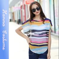 New summer striped t shirt 2014 fashion women chiffon t-shirt Short sleeve o-neck t shirts woman clothing