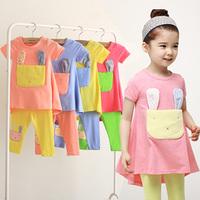 2014 summer Korean version of the new children's short-sleeved baby rabbit Girls t-shirt Leggings Set